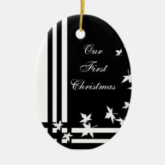 Black White Our First Christmas Holiday Ornament