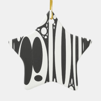 Black white ovals border print Double-Sided star ceramic christmas ornament