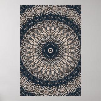 Black & White Owl Mandala Poster