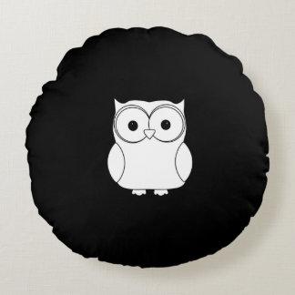 Black & white Owl round pillow