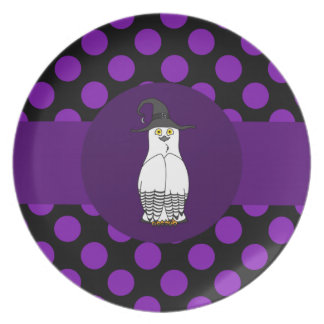 Black & White Owl Witch with Purple Polka Dots Dinner Plates