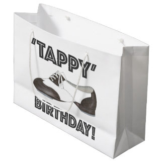 Black White Oxford Tap Shoe Dance Tappy Birthday Large Gift Bag