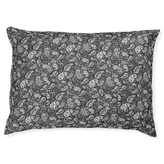 Black & White Paisley Floral Pet Bed