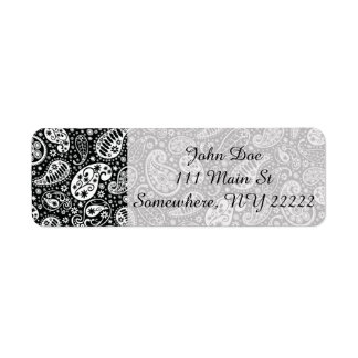 Black & White Paisley Floral Return Address Label