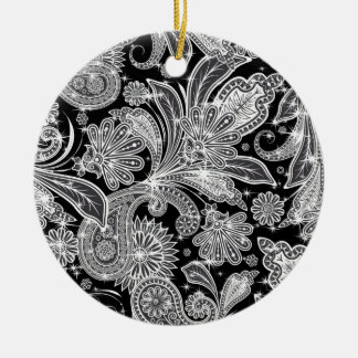 Black & White Paisley Pattern Round Ceramic Decoration