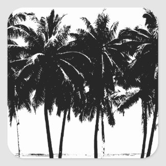 Black White Palm Trees Silhouette Square Sticker
