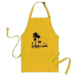 black white palms standard apron