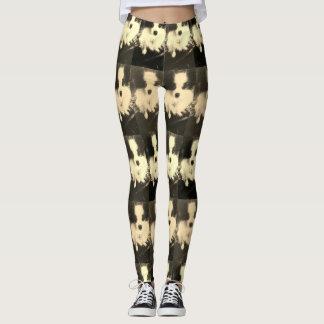 Black & white Papillon Dog designer leggings