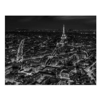 Black White Paris City Night Eiffel Tower Travel Postcard