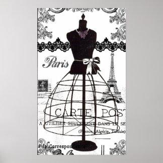Black White Paris Fashion Mannequin Poster