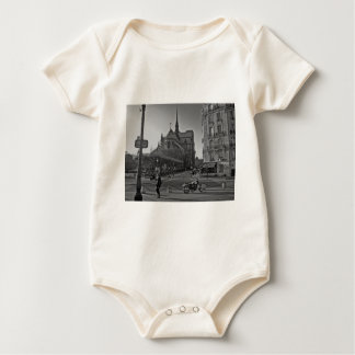 Black & White Paris notre dame Baby Bodysuit