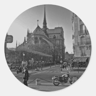 Black & White Paris notre dame Classic Round Sticker