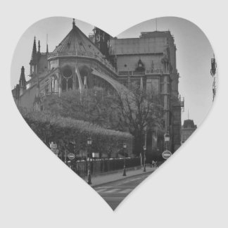 Black & White Paris notre dame Heart Sticker