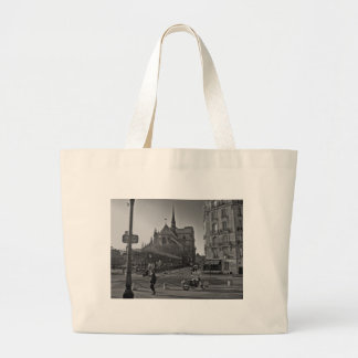 Black & White Paris notre dame Large Tote Bag