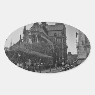 Black & White Paris notre dame Oval Sticker