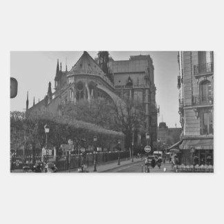 Black & White Paris notre dame Rectangular Sticker