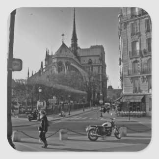 Black & White Paris notre dame Square Sticker