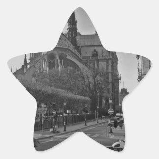 Black & White Paris notre dame Star Sticker