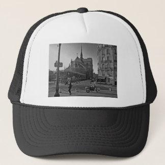Black & White Paris notre dame Trucker Hat