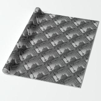 Black & White Paris notre dame Wrapping Paper