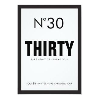 Black & White PARIS Theme 30TH Birthday Party Card