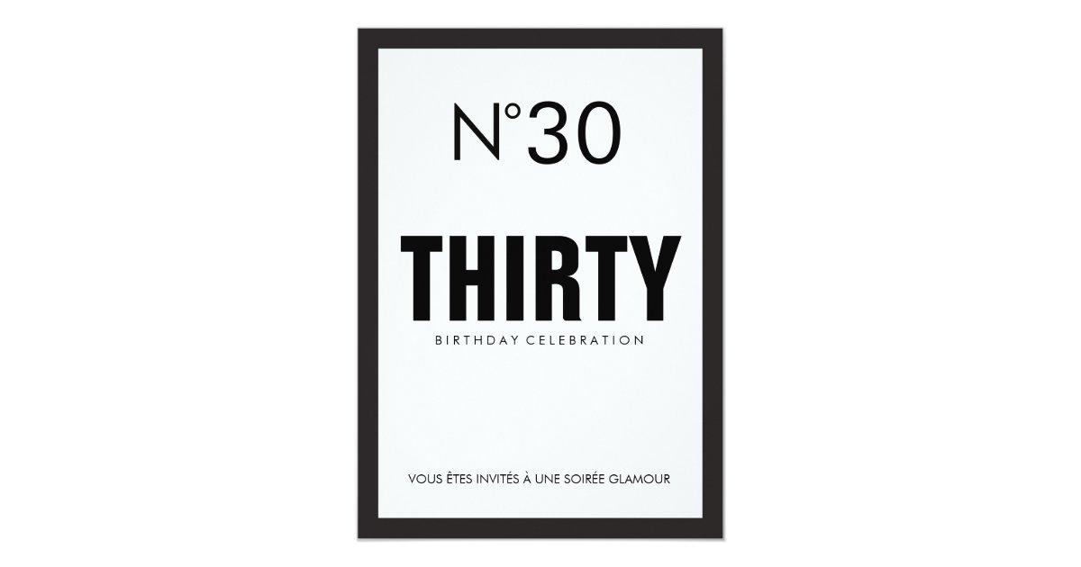 Black & White PARIS Theme 30TH Birthday Party Invitation | Zazzle.com.au