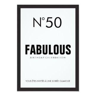 Black & White PARIS Theme FABULOUS 50TH Birthday Card