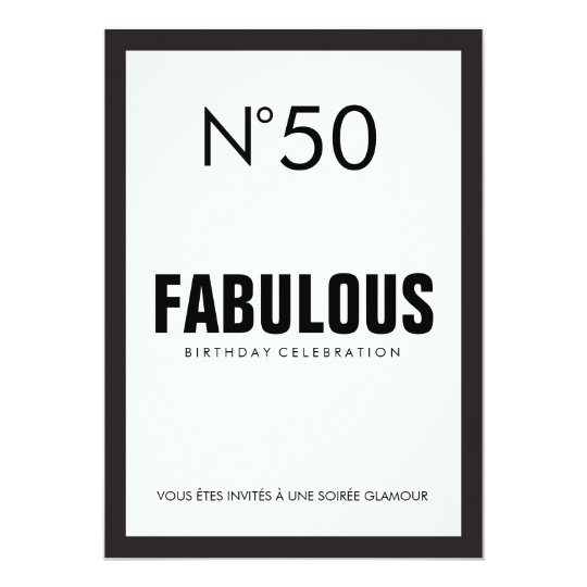 Black White PARIS Theme FABULOUS 50TH Birthday Invitation