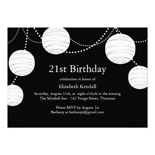Black & White Party Lantern 21st Birthday Invite