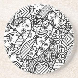 Black & White Pattern Patchwork 01 Coaster