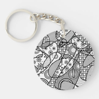 Black & White Pattern Patchwork 01 Single-Sided Round Acrylic Key Ring