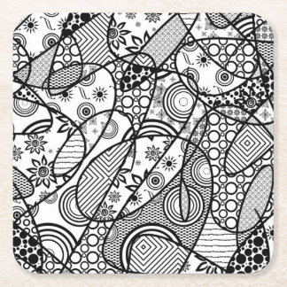 Black & White Pattern Patchwork 01 Square Paper Coaster