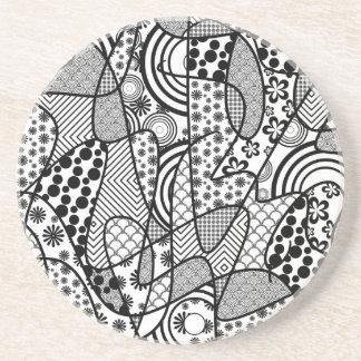 Black & White Pattern Patchwork 02 Coaster