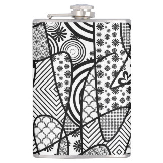 Black & White Pattern Patchwork 02 Hip Flask