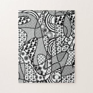 Black & White Pattern Patchwork 02 Puzzle