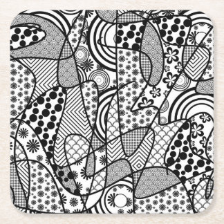 Black & White Pattern Patchwork 02 Square Paper Coaster