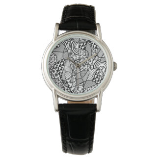 Black & White Pattern Patchwork 02 Watch