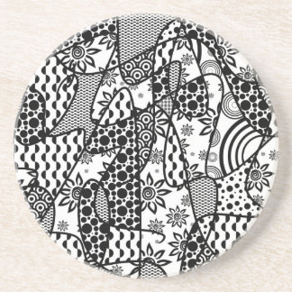 Black & White Pattern Patchwork 03 Coaster