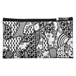 Black & White Pattern Patchwork 03 Cosmetics Bags