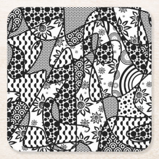 Black & White Pattern Patchwork 03 Square Paper Coaster