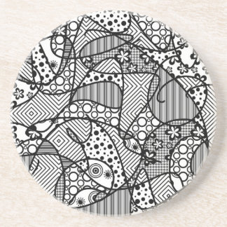 Black & White Pattern Patchwork 04 Coaster