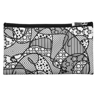 Black & White Pattern Patchwork 04 Cosmetic Bags