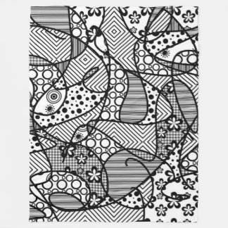 Black & White Pattern Patchwork 04 Fleece Blanket