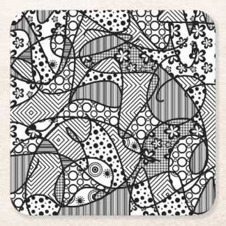 Black & White Pattern Patchwork 04 Square Paper Coaster
