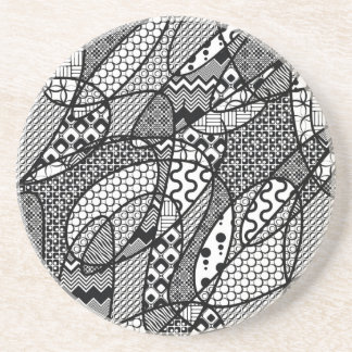 Black & White Pattern Patchwork 05 Coaster