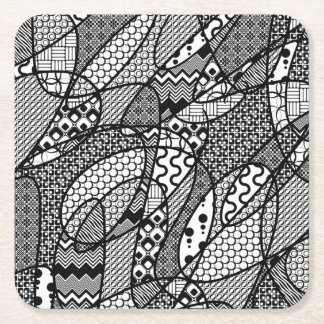Black & White Pattern Patchwork 05 Square Paper Coaster
