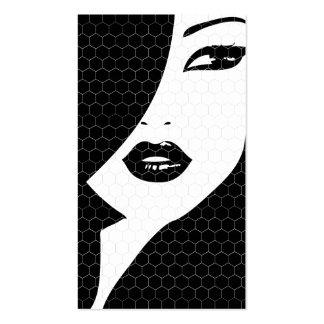 BLACK WHITE PATTERNED GIRL Business Card
