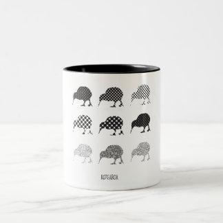 Black & White Patterned Kiwi Birds Two-Tone Coffee Mug