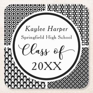 Black & White Patterns Graduation Celebration Square Paper Coaster