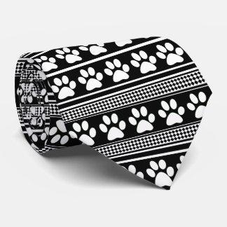 Black white paw print pattern necktie